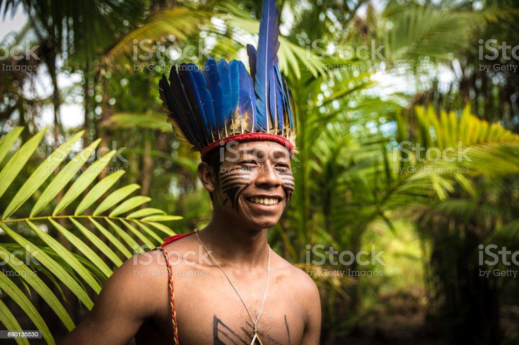 Native Brazilian man from Tupi Guarani Tribe in Brazil (Indio) stock photo