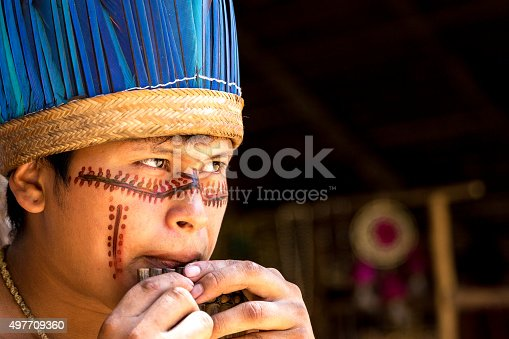 istock Native Brazilian playing wooden flute 497709360