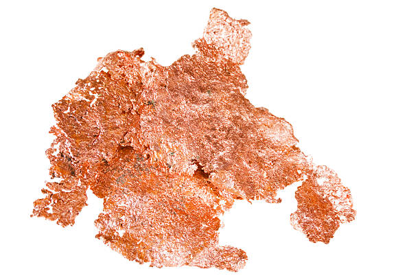 native copper isolated on white background stock photo