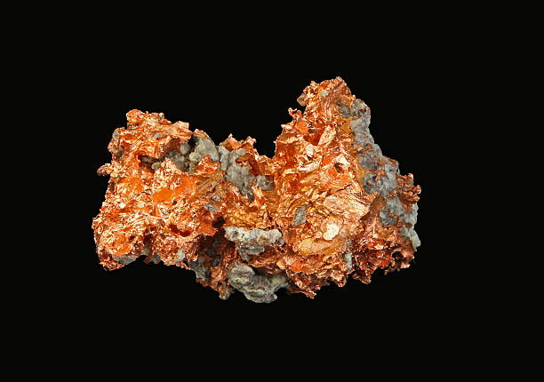 native copper -on black background - copper stock photos and pictures