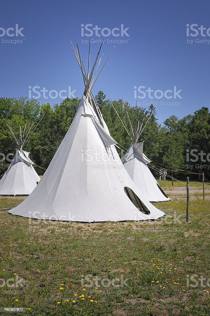 Native dwellings - teepees royalty-free stock photo