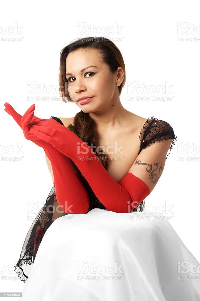 Native fashion model in red gloves. royalty-free stock photo