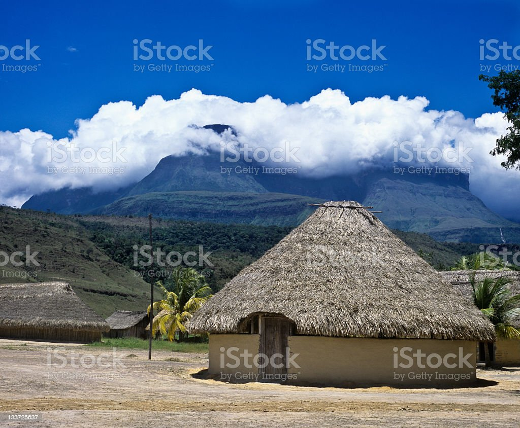Native Indian hut village at Kavak Auyantepuy royalty-free stock photo