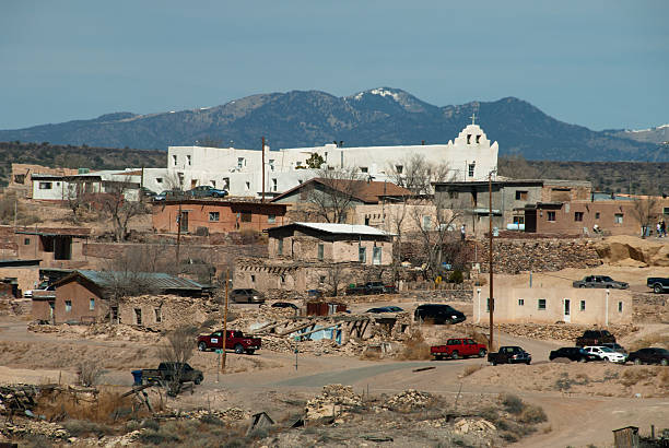 native indian laguna pueblo on route 66 - native american reservation stock photos and pictures