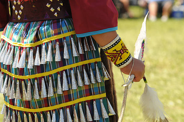 native jingle dress dancer - native american reservation stock photos and pictures