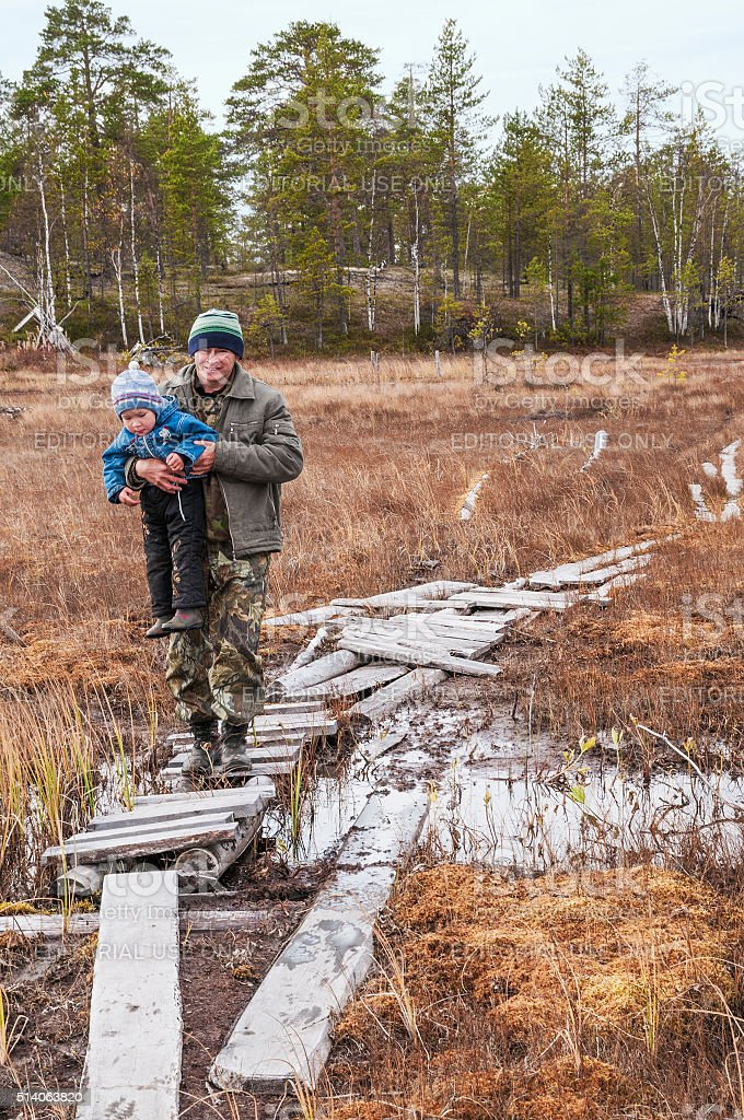Native of the North with their son. stock photo