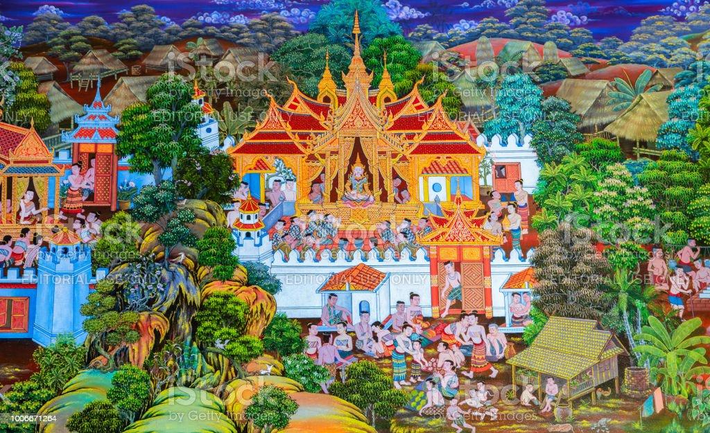 Photo Libre De Droit De Peinture Murale De Native Bouddhiste