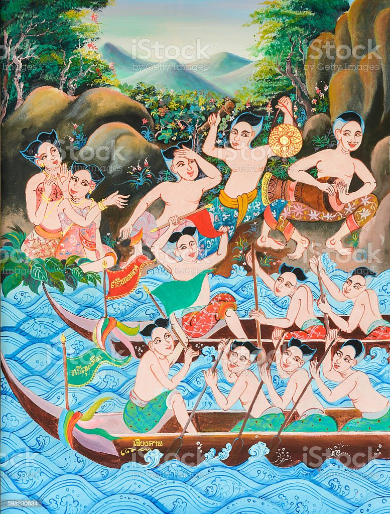 Native Thai mural painting of Long boat race festival foto royalty-free
