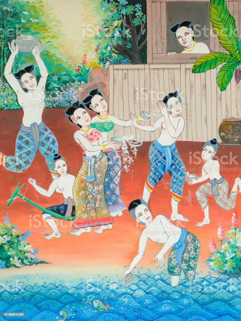 Native Thai Wandmalerei des Songkran festival – Foto