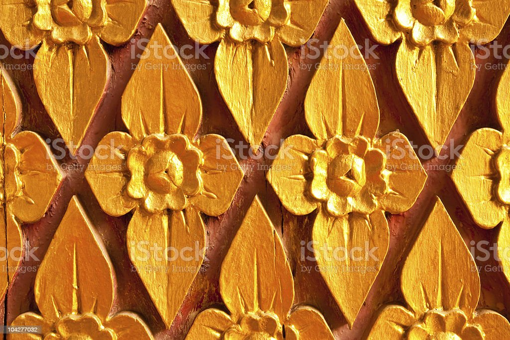 Native Thai style wood carving royalty-free stock photo