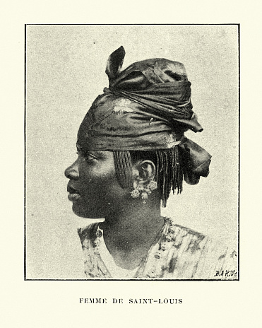 Vintage engraving of a Native woman of Saint-Louis, Senegal 19th Century