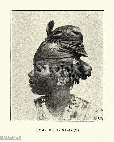 Vintage engraving of a Native woman of Saint-Louis, Senegal 19th Century