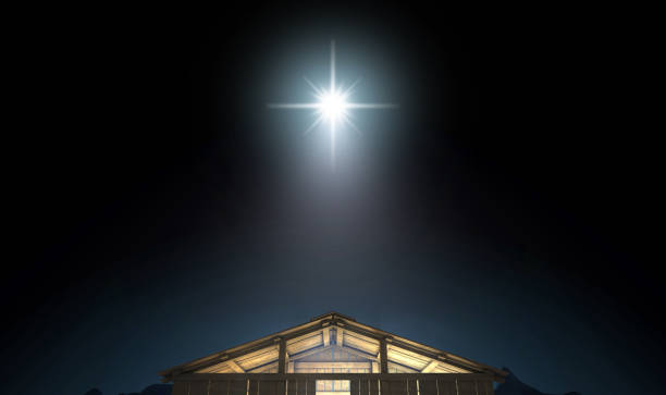 Nativity And Bright Star A depiction of the nativity scene of christs birth in bethlehem with the isolated stable being lit by a bright star - 3D render trough stock pictures, royalty-free photos & images