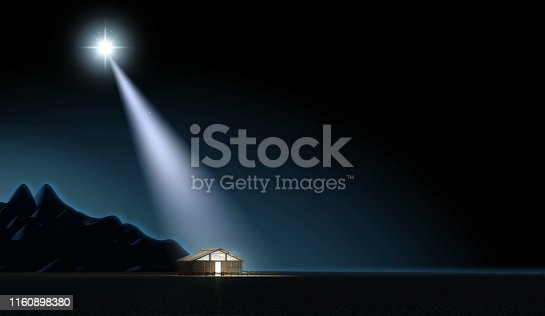 A depiction of the nativity scene of christs birth in bethlehem with the isolated stable being lit by a bright star - 3D render