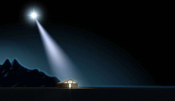 nativity and bright star - nativity scene stock pictures, royalty-free photos & images