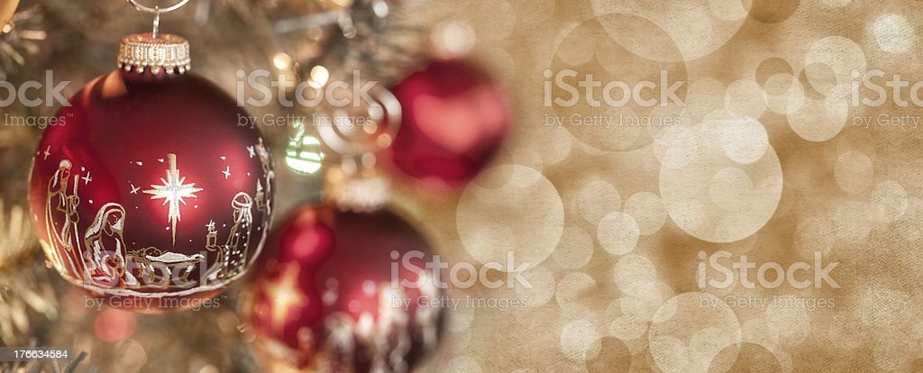 Nativity Christmas Baubles royalty-free stock photo