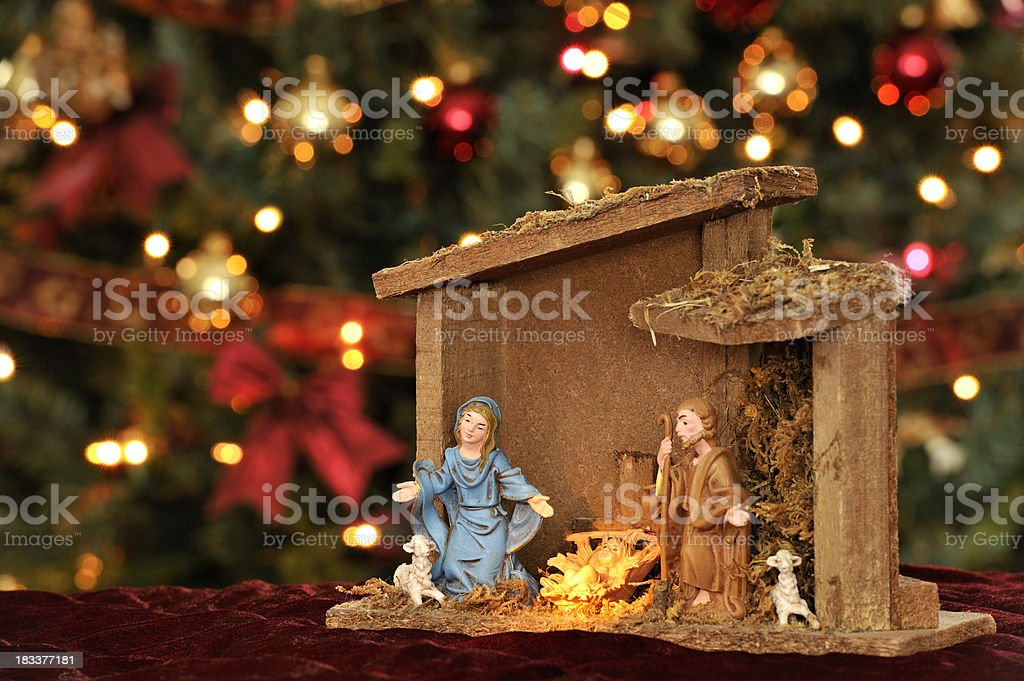 Nativity, Christmas ornaments and lighting, religious decoration  royalty-free stock photo - Nativity Christmas Ornaments And Lighting Religious Decoration Stock