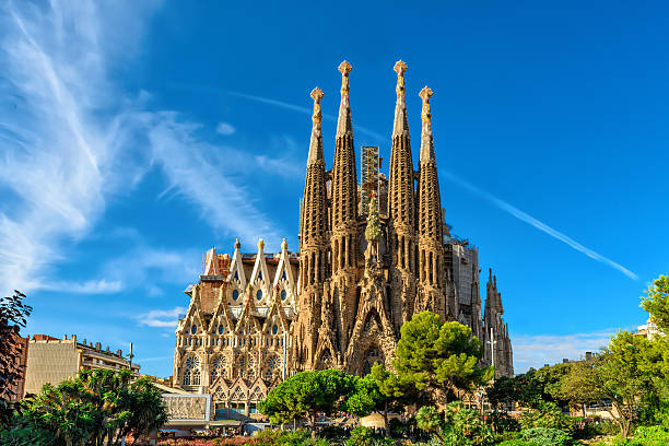 nativity facade of sagrada familia cathedral in barcelona - international landmark stock photos and pictures