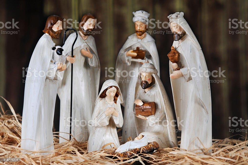 Nativity in a Barn stock photo