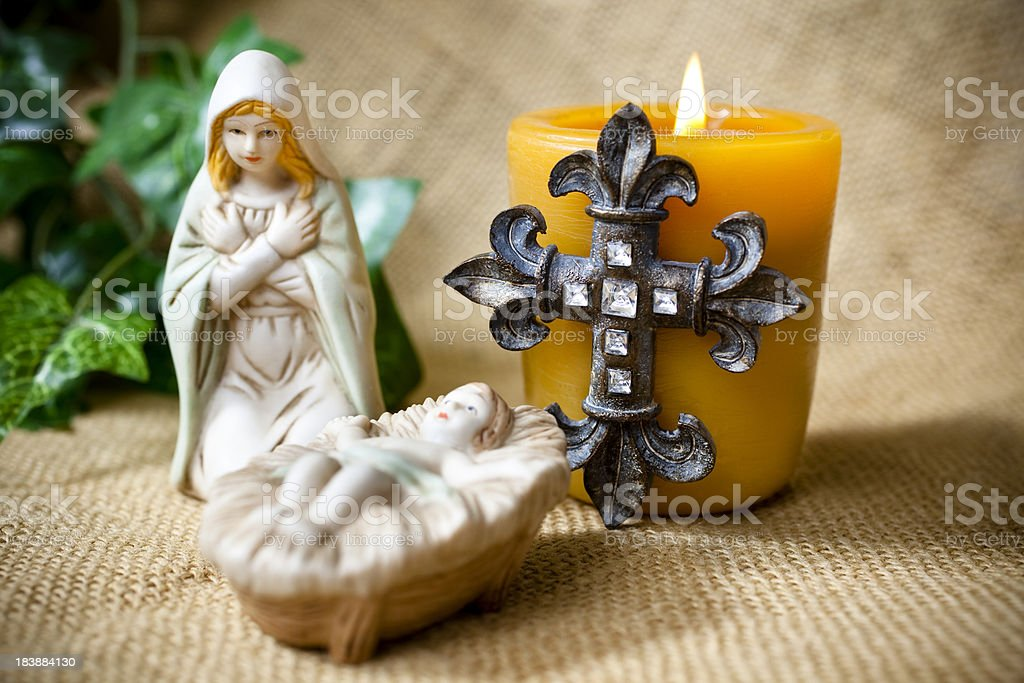 Nativity, mother and child figurines royalty-free stock photo