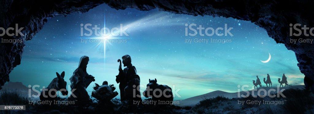 Nativity Of Jesus - Scene With The Holy Family stock photo