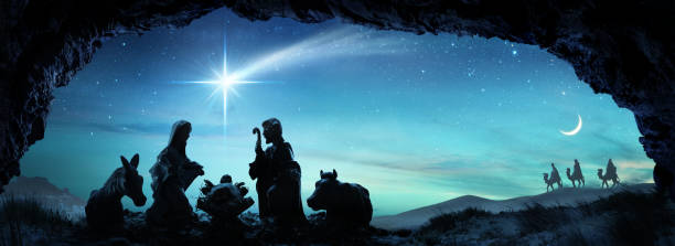 nativity of jesus - scene with the holy family - nativity scene stock pictures, royalty-free photos & images