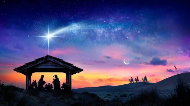 Nativity Of Jesus - Scene With The Holy Family With Comet At Sunrise Nativity Of Jesus - Scene With The Holy Family With Comet At Sunrise religion stock pictures, royalty-free photos & images