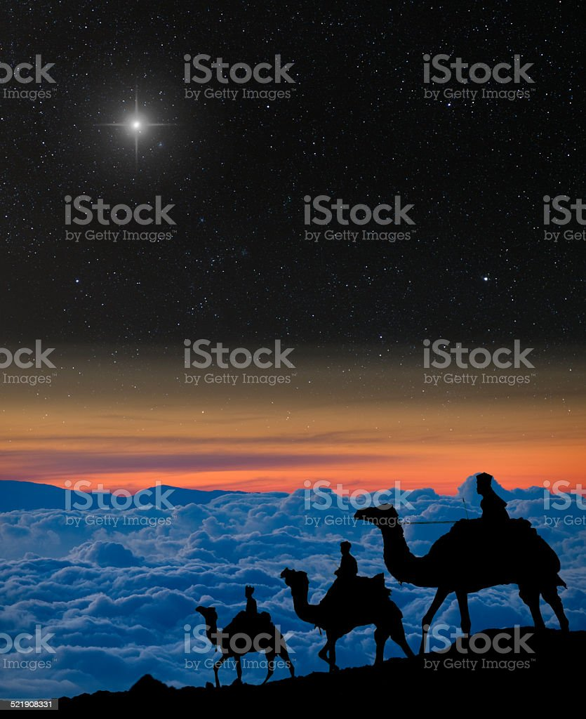Nativity scene: 3 wise men in the mountains. stock photo