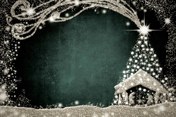 nativity scene and christmas tree card. - nativity scene stock pictures, royalty-free photos & images