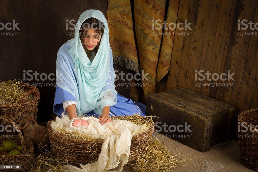 Nativity scene in manger stock photo