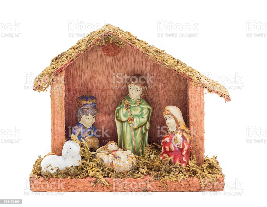 Nativity scene in wooden stall stock photo