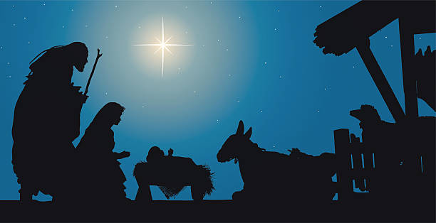 nativity scene jesus in a manger with joseph and mary - nativity scene stock pictures, royalty-free photos & images