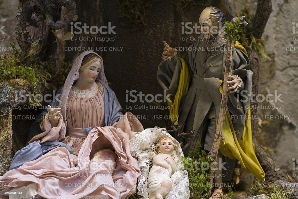 Nativity Scene on Neapolitan Presepe royalty-free stock photo
