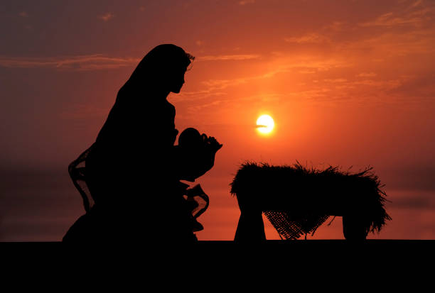nativity scene (photographed silhouette) - nativity scene stock pictures, royalty-free photos & images