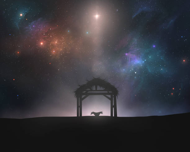 Nativity scene An empty manger and stable under the star of Bethlehem trough stock pictures, royalty-free photos & images