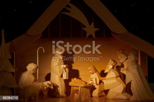 nativity scene, made from wood