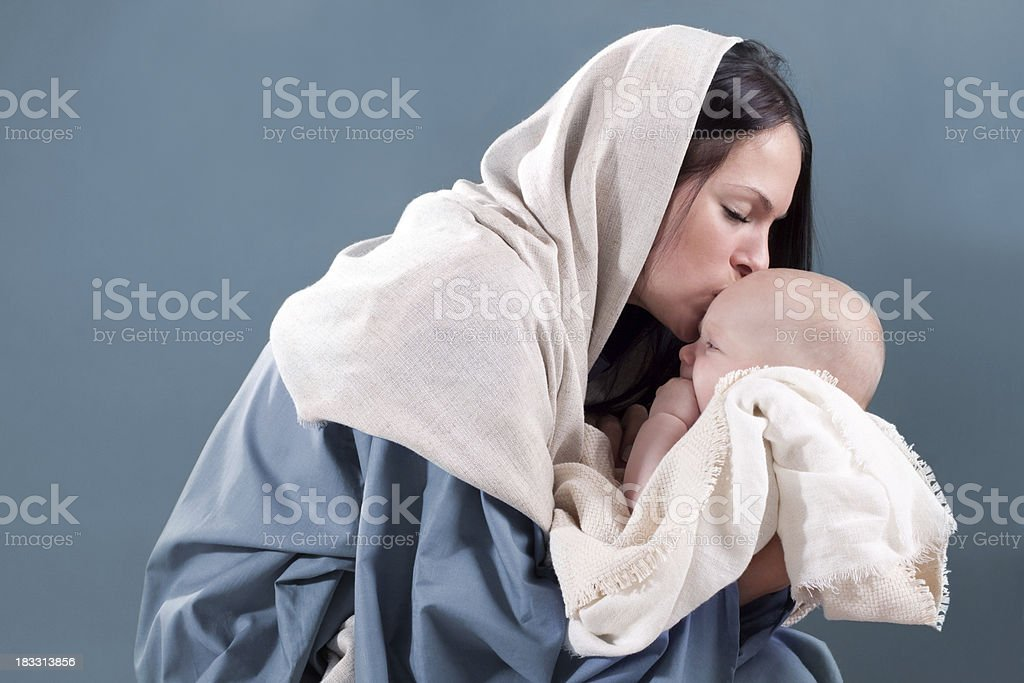 Nativity Scene with Mary and Baby Jesus royalty-free stock photo