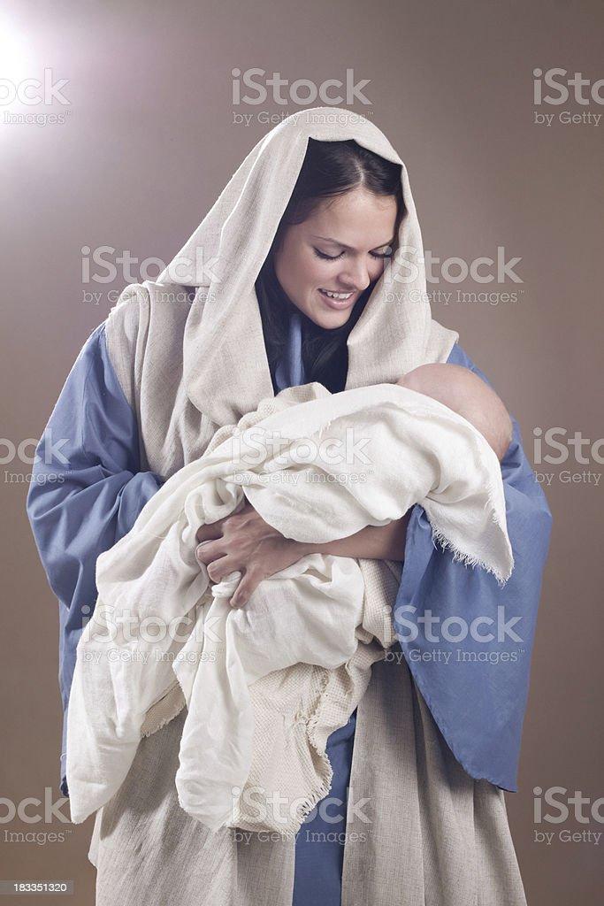 Nativity Scene with Mary and Baby Jesus stock photo