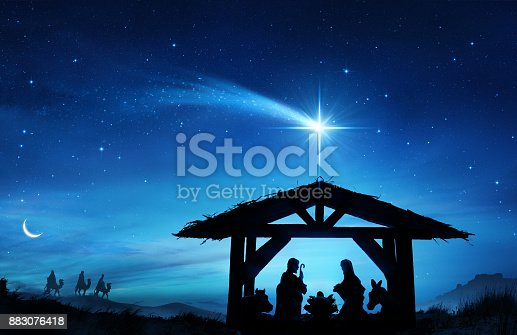 istock Nativity Scene With The Holy Family In Stable 883076418