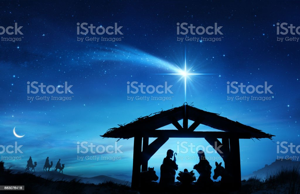 Nativity Scene With The Holy Family In Stable stock photo