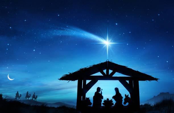 nativity scene with the holy family in stable - nativity scene stock pictures, royalty-free photos & images