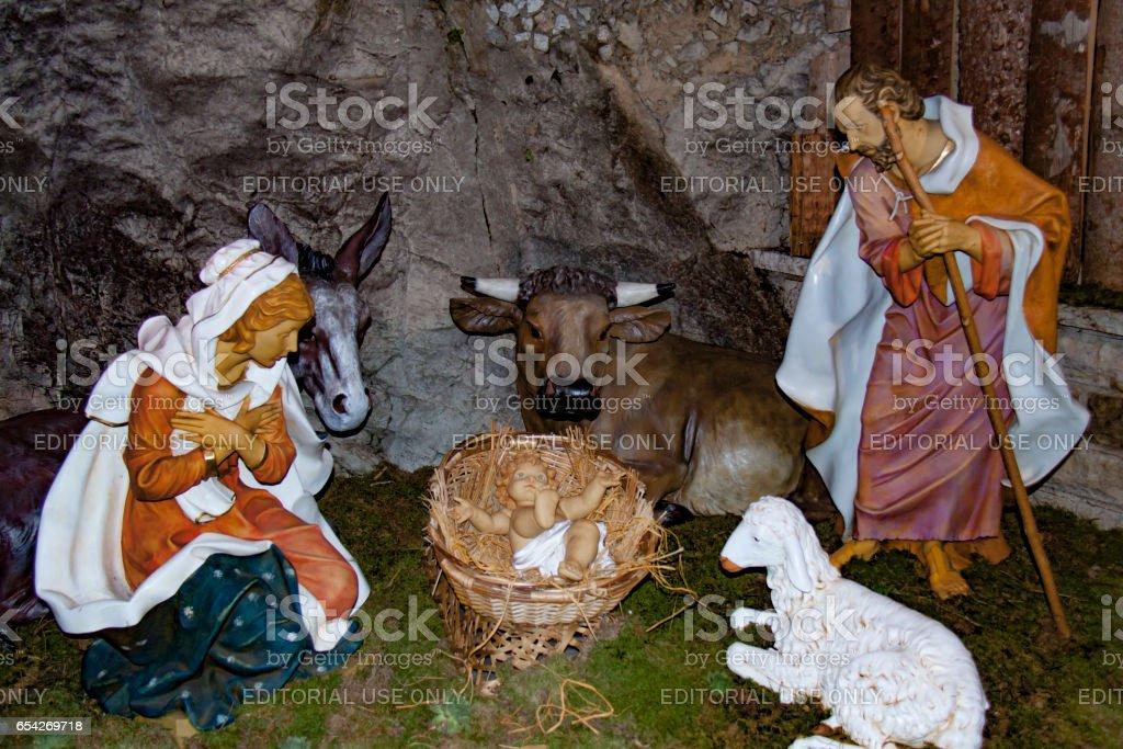 Nativity scene. Xmas 2016, France стоковое фото