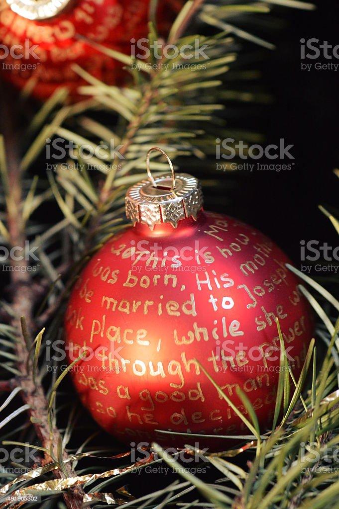 Nativity story on Christmas ornament bulbs stock photo