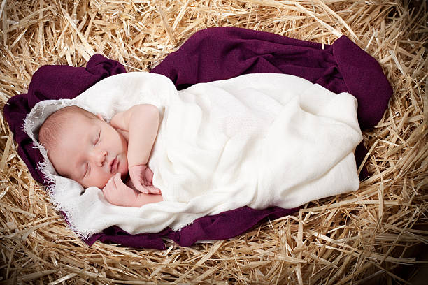 nativity with baby sleeping in manger - nativity scene stock pictures, royalty-free photos & images