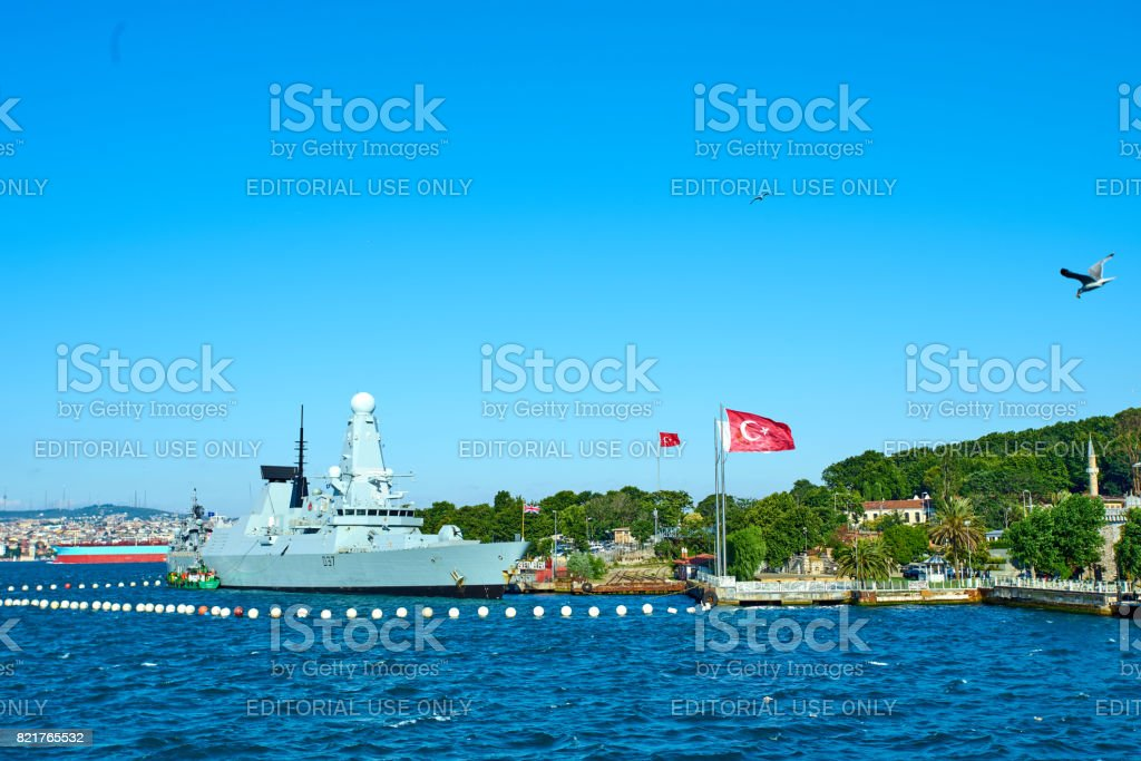 ISTANBUL, TURKEY -JULY 10 2017: Nato's ships  arrive to Istanbul. stock photo