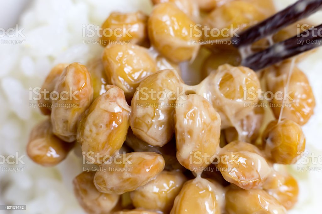 Nattou, Fermented soybeans Japanese traditional food made from soybeans. 2015 Stock Photo