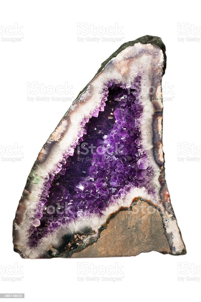 Natural amethyst isolated on white stock photo