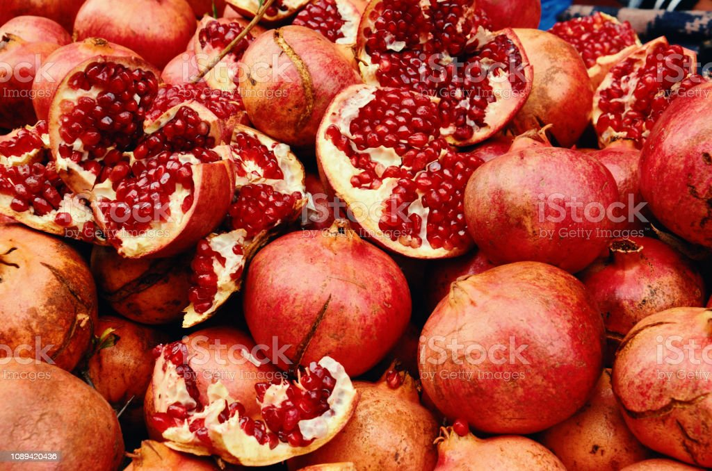 Natural and Fresh Pomegranate in the Market stock photo