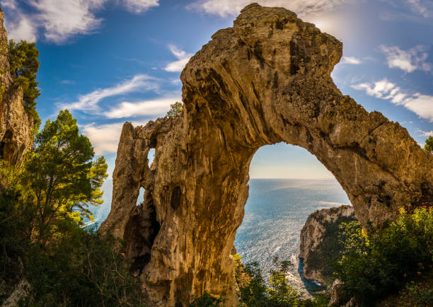 Natural Arch In The Isle Of Capri stock photo