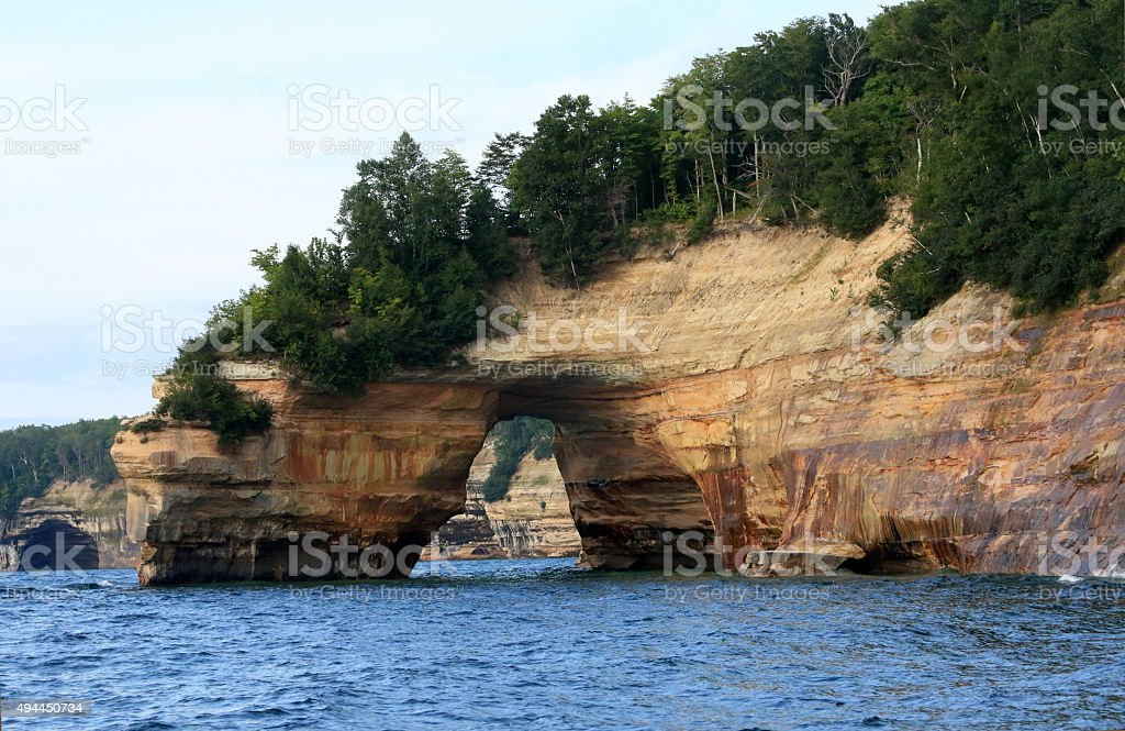 Natural arch rock formation stock photo